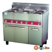 Elektrisch kookfornuis, 5 platen op convectie-oven 4x gn 1/1