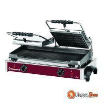 Elektrische panini grill dubbel, geribde platen